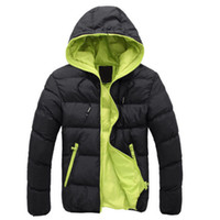 с капюшоном оптовых-2018  Winter Jacket Men Hat Hooded Warm Cotton-Padded Outwear Mens Coats Jackets Hooded Collar Slim Clothes Thick Parkas