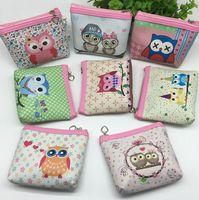 Wholesale kids owl purses - New fashion kids cartoon owl women cute PU coin purse organizer bag student coin bag top quality