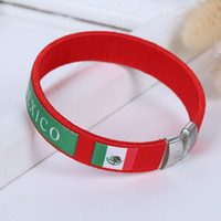 Wholesale red paracord - Wholesale World Clup Printed Slicone Paracord Bracelets Green and Red Mexico Country Flag Alloy Charm Bracelets
