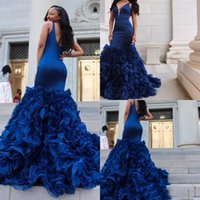 Wholesale Petal Skirt Dress - 2018 Royal Blue Prom Dresses Evening Gowns Sexy Deep V Neck Sleeveless Mermaid Ruffles Organza Skirt Formal Party Dresses