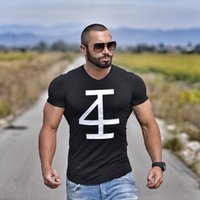 Wholesale Fit Personality - Brand Men 'S T -Shirt Fitness And Bodybuilding Short Sleeve T Shirts Fashion Leisure Muscle Men Slim Fit Personality Tees Tops