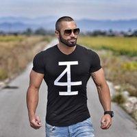 camisas ajustadas del músculo al por mayor-Brand MenS T -Shirt Fitness y culturismo Camisetas de manga corta Moda Ocio Muscle Men Slim Fit Camisetas de la personalidad Tops