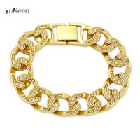 Wholesale Womens Chain Bracelets - LuReen Mens Womens Chain Hip Hop Iced Out Curb Cuban Bracelet With Clear Rhinestones for Mens Womens