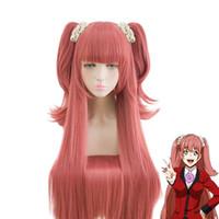 Wholesale Pink Ponytail Wig Long - kakegurui Yumemi Yumemite Long Staight Deep Pink Cosplay Wig Clip on Ponytails