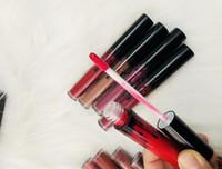Wholesale hard matte - New Top quality 12pcs matte Liquid lipsticks Set 12colors Lip gloss Black Hard Box free shipping