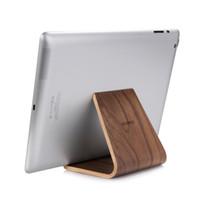 Wholesale pc shelf - Samdi Mini Wood Wooden Plate Support Dock Holder Stands Desktop Computer Lazy Shelf for IPad 1 2 3 4 Tablet PC PDA