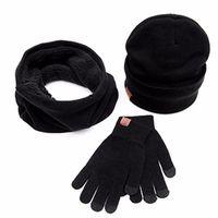 Wholesale Ladies Mink Hats - Man Ladies 3pc Winter Soft Knit Beanie Hat Scarf Screen Gloves Set Cotton Blend Fashion Accessorie Winter Scarf Men Mink