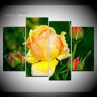 decoración de la habitación rosas al por mayor-Modular Art Painting HD Poster Impreso Home Decoration 4 Panel Beautiful Yellow Roses Living Room Wall Canvas Pictures