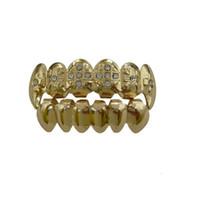 grades brancas dentes de ouro venda por atacado-Metal Dente Grillz Gold Cross Grillz Dental Top Bottom Hiphop Dentes Caps Corpo Jóias para Mulheres Homens Moda Vampiro Cosplay Acessórios 2018