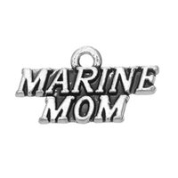 Wholesale marines charms - 30PCS 2 Style Metal Alloy Lettering MARINE MOM And MARINE WIFE Charms Dangle Jewelry For DIY Pendant Accessories Jewelry