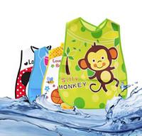 bebek bandana giysileri toptan satış-Sevimli Karikatür Bebek Önlükler Su Geçirmez Bandana Silikon Çocuk Bebek Besleme Önlükler Erkek Kız Bebekler Burp Giysileri Besleme Bakım