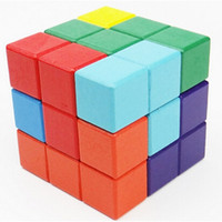 Wholesale iq puzzles - Wooden Building Blocks Toys Colour Cube Seven Grains Challenge IQ Assembling Puzzle Toy Bricks Intellectual Unlock 5 5yh W