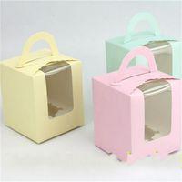 kutu hamur işleri toptan satış-Fincan Kek Sarma Hamur Işleri Batı Noktası Ambalaj Katı Renk Pencere Parti Malzemeleri Hediye Şeker Kutusu Ücretsiz Kargo 0 55rxa V
