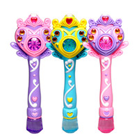 Wholesale Wholesale Toys Bubble Wand - [Funny] Princess Fully-automatic electronic bubble machine magic wand music and light bubble gun toy children party kids gift