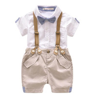 bebek erkek takım elbiseleri toptan satış-Yürüyor Boys Giyim Seti Yaz Bebek Takım Elbise Şort Gömlek 1-4 Yıl Çocuk Çocuk Giysileri Resmi Düğün Parti Kostüm Suits