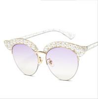 güneş gözlüğü yarım kedi toptan satış-Şık Lüks Tasarımcı Güneş Büyüleyici Kadın Moda Stil Yuvarlak Lens Kedi Göz Elmas Yarım Jant Çerçeveler Cam Güneş Gözlükleri