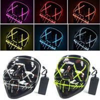 черные маски для лица оптовых-Светодиодные маски Хэллоуина EL Wire светящаяся Маска черный ужас призрак Маска Маскарад день рождения карнавал косплей анфас Hh7-1719