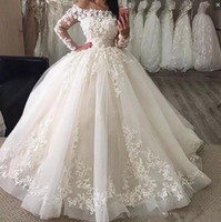 Wholesale line dress dropped shoulders online - Princess Country Wedding Dresses With Lace Appliques Off The Shoulder Tulle Floor Length Bridal Gowns Long Sleeves Wedding Dress Cheap