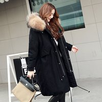 Wholesale Thick Corduroy Jacket - Large Natural Raccoon Fur Collar 2017 Winter Jacket Women Thick Parka Long Loose size Coat outwear Female Parkas Army Green