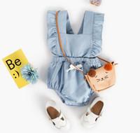 Wholesale pet fly - Ins New Baby Girl summer Romper Pet Pan Collar flying Sleeveless Girl Flower Print Romper 3 Styles