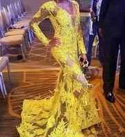 plumas de vestidos amarillos al por mayor-ZYLLGF Sexy See Through Lace Vestidos de noche Sirena Deep V Neck African Beaded Más tamaño Yellow Prom Vestidos Long Sleeves con plumas