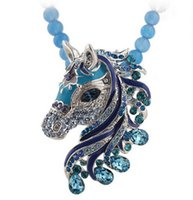 Wholesale Elegant Horse - whole saleNew Fashion Western Statement Style Women Elegant Link Chain Pendant Party Choker Horse Rhinestones Necklace Jewelry for Women