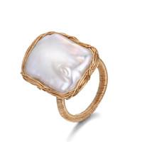 anillos de perlas barrocas al por mayor-Original Hecho A Mano Cuadrado Anillos de Perla Anillos de Perla en forma de Barroco 14 K Oro Alambre Envuelto Boda Ajustable Para Las Mujeres Joyería