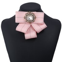 Wholesale butterfly crystal brooch resale online - 2018 New Crystal Pins Bow Brooch For Women Vintage Pearl Butterfly Brooch Larger Statement Pin Cloth Accessories