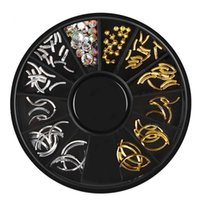 Wholesale gold nail strips - 12 Kinds nail patches Sliver gold Nail Art Stickers Decals Semilunar Rivet Manicure Trays Sheet Metal Electroplating Strips