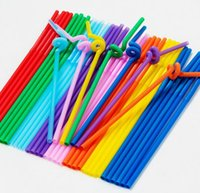 flexibles plastikstroh großhandel-Multicolor Food Grade PP Kunststoff Bar Party Trinkhalme Flexible Biegsamen Valentinstag Geburtstag Dekor