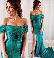 Wholesale spark light - High Side Split Sexy Sequined Mermaid Prom Dresses Sparking Ruched Off Shoulder Zipper Back Maid of Honor Dress