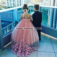 ingrosso il pavimento di tailing-Flower Girl Dress Perla rosa di lusso TuTu Dress Beaded Strap Long Tail Party Dance Dress Floor Length