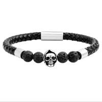 женские ювелирные изделия из нержавеющей стали оптовых-Stainless Steel Chain Genuine Leather Bracelet Natural Stone Bracelet Skull  Bangle Male Braid Jewelry For Women Pulseiras