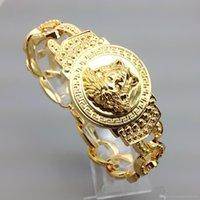 18 k altın kaplama bilezikler toptan satış-Erkek Lüks Medusha Zincir Bileklik Bilezik Yüksek Kalite 18 K altın Kaplama Out Out Miami Küba Bilezik Hip Hop takı