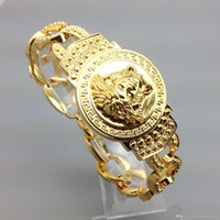 cadenas chapadas en oro de calidad al por mayor-Hombres de lujo Medusha pulseras de cadena brazaletes de alta calidad 18 K chapado en oro helado hacia fuera Miami pulsera cubana hip hop joyería