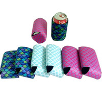 Wholesale bottom cover - 10*13cm New Mermaid Slim Can Sleeves Can Neoprene Beverage Coolers With Bottom Beer Cup Cover Case Housekeeping Storage Organization WX9-669