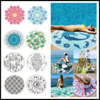 Wholesale bamboo picnic - 150*150CM Polyster Round Beach Blankets With Tassels 22 Tropical Styles Printing Beach Towel for Picnic Camping