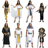 Wholesale halloween costume egyptians for sale - Group buy Halloween Party Costume Designs Egyptian Pharaoh Cosplay Clothing Sets For Men Women Kid Masquerade Party Fancy Dress Costumes DHL LA982