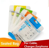 Wholesale Audio Data - Sealed Retail Package Bag Packing For Micro USB charger data sync cable audio earphone Charge iphone 6 7 plus Samsung S8 S9 HTC LG huawei
