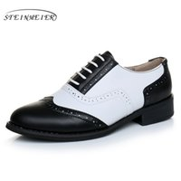 Wholesale oxford style shoes for women resale online - Genuine leather big shoes women US size handmade flat black white vintage British style oxford shoes for women with fur