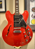 gitarren elektrisch 335 rot großhandel-Benutzerdefinierte 1959 Alvin Lee Big Red 335 Semi Hollow E-Gitarre 60er Jahre dunkelbrauner Hals, kleine weiße Block-Einlage, schwarzes Schlagbrett, HSH-Tonabnehmer