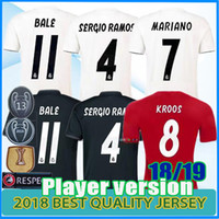 Wholesale real player for sale - 13 Champion Real Madrid Home white Soccer Jersey Real Madrid soccer shirt Mariano Bale Player version Football uniforms