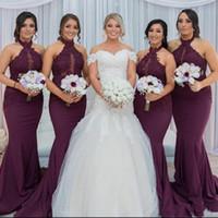 Wholesale lace halter neck mermaid wedding dresses resale online - Grape Mermaid Bridesmaid Dresses Elegant Arabic Halter Neck Lace Appliques Purple Wedding Guest Party Dresses Vestido de Feista