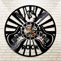 Wholesale Rock Music Decor - 1Piece Rock Music Play The Guitar Vinyl Record Wall Clock Roll N Roll Music Creative Decor Decorative Clock Gift For Lover
