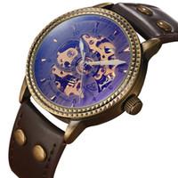 esqueleto de relógio de pulso venda por atacado-New Hot Vintage Top Marca Retro Automático Mechnical Relógios para Mens Esqueleto de Banda de Couro Dos Homens Das Mulheres Relógios de Pulso Presentes