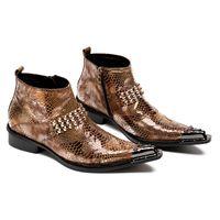 çelik sivri ayakkabılar erkekler toptan satış-2018 Çelik Sivri Burun Zip Ayak Bileği Çizmeler Erkekler Ayakkabı Deri Marka Tasarımcı İtalyan Ayakkabı Perçinler Toka Mens Askeri ...