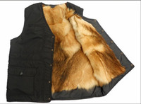 Autumn and winter outdoor Men genuine leather quinquagenarian male fur one piece thermal fur vest