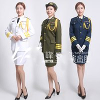Wholesale military woman costume for sale - Blue White Green China guard hornist art costumes Flag raising ceremony Suits Army drummer clothing Military honor Uniform Dress