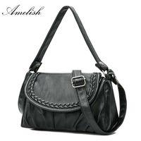 крестовина для девочек оптовых-New  Black Real Genuine Leather Bag For Women Vintage Sheepskin Shoulder Purse Girls Handbag Cross-body Tote Clutch