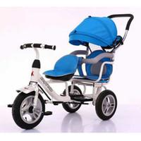 dreirad spaziergänger großhandel-Doppelter Regenschirm-Spaziergänger-Kind-Dreirad-Doppelkinderwagen-Fahrrad-Baby-Pram-Reise 1-3-5 Jahre Rollstuhl-doppeltes Rütteln
